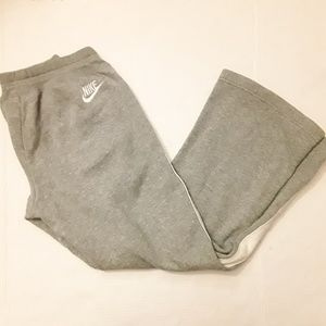 Nike gray and white striped flare leg sweatpants